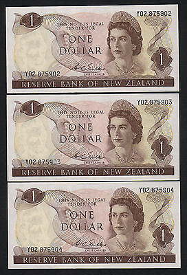 New Zealand  P-163b. (1968-75) One Dollar - Wilks.  Prefix Y02. CONSECUTIVE Trio