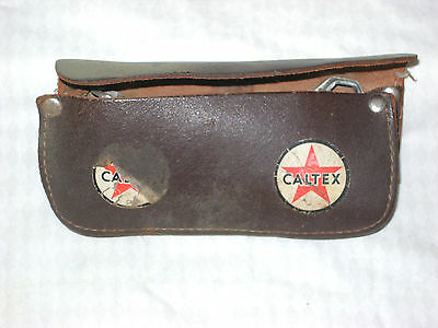 Vintage Caltex Leather Motor Bike Tool Pouch RARE old tools 4 way bike spanner