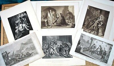 6 x Historical Portraits & Events - Wellington, Wat Tyler  etc - 1814 -1860