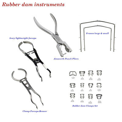 Dental Rubber Dam instruments Clamps Ivory Punch Pliers lightweight Frame Brewer