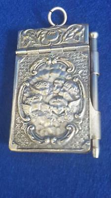 Antique 1890-1900 Silver Plated Chatelain Notebook w Pencil w Reynolds Cherubs