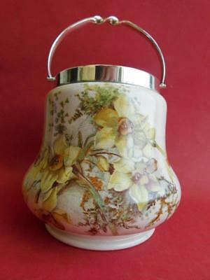 Beautiful Pear Shaped Pottery Biscuit Barrel Daffodil pattern 1930s