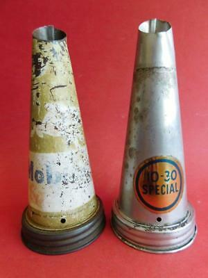 2 Vintage Oil Bottle Tin Pourers Mobil Oil Winged Horse & 10-30 special