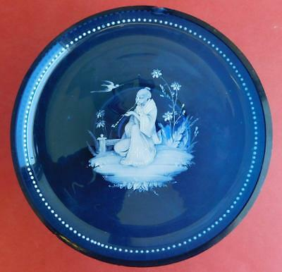 Exotic Antique Mary Gregory Enamel Glass Comport Raised Dish 1890 Oriental Theme