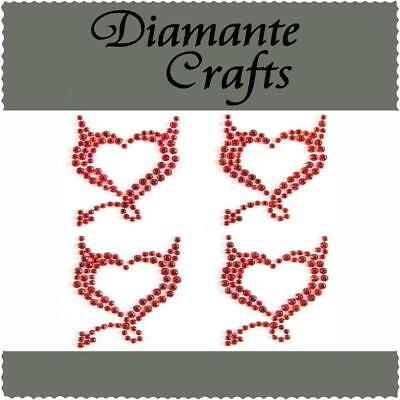 4 x 32mm Red Diamante Devil Hearts Rhinestone Vajazzle  Body Art Gems (tr)