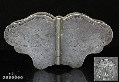 Antique Chinese Qing Dynasty Engraved Pewter Bat Form Box + Makers mark