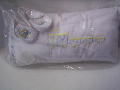 Baby Pillow With Matching Crib Shoes, Train Design, Boy, Brand New