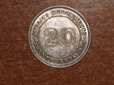 Straits Settlements 1935 silver 20 Cents coin Very Fine nice