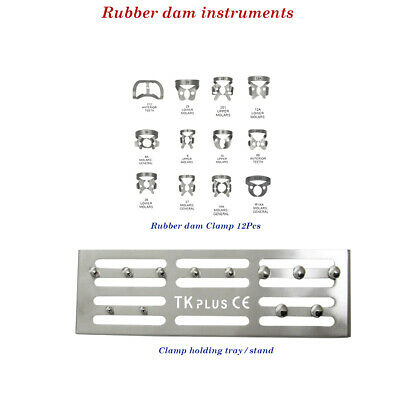 Dental Rubber Dam instruments Clamp Stand with Clamps set of 12 CE