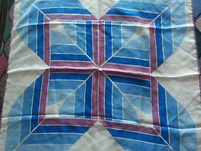 Vintage 60s silk scarf blues , purple , white -abstract pattern -Ernex of London