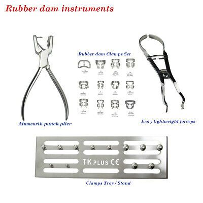 Dental Rubber Dam instruments Clamp Stand +Clamps Ivory Punch Pliers lightweight