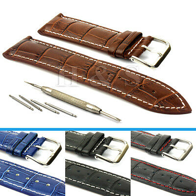 Mens PU Leather Watch Strap Band + Tool Spring Bar Pins 18mm 20mm 22mm 24mm