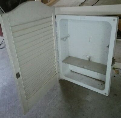 Vintage metal medicine cabinet wood shutter door,wall inserted, no shelves