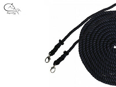 Busse Double Lunge Line Long Reins 10m Polyester Cord Black  FREE DELIVERY