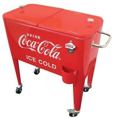 Coca-Cola Beverage Soda Cooler 60 Qt. Ice Cold Retro Red Metal Rolling Wheels