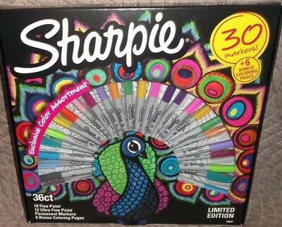 Sharpie Limited Edition 30 Count Permanent Markers & 6 Assorted Coloring Pages