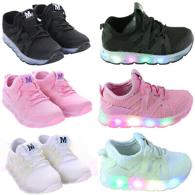 Girls Boys Led Running Trainers New Kids Children Comfort Sports School Shoes Uk