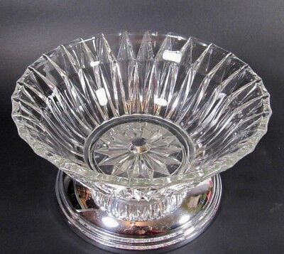 French Art Deco Bowl: Chromed Pressed Crystal Glass Fruit Tazza Centerpiece