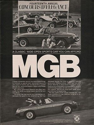 1978 MGB Convertible A Classic Wide Open Sports Car You Can Afford Print Ad