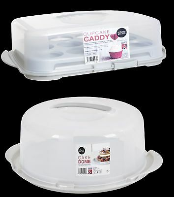 Cake Box Cupcake Caddy Plastic Clear Heavy Plastic Carry Handle Easy Storage