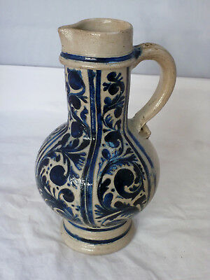 Antique Westerwald stoneware salt glazed jug 19th c possibly earlier