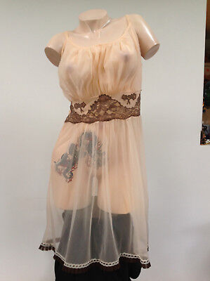 L93Vintage 60s Utterly Seethrough Transparent Pink Nylon & Lace Babydoll Nightie