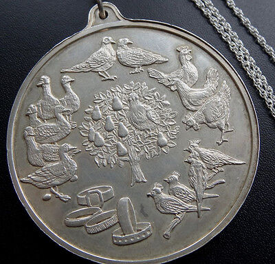 vintage hallmark SILVER 53g 12 days of christmas pendant chain necklace 70s D304