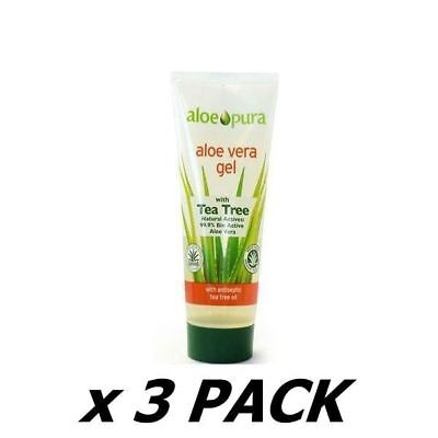 Aloe Pura Organic Aloe Vera Gel With Tea Tree 200Ml (3 Pack)