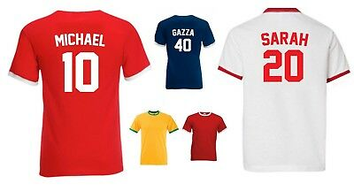 RETRO RINGER FOOTBALL T-SHIRT - PERSONALISED (name&number) COOL SPORTY FAN GIRFT
