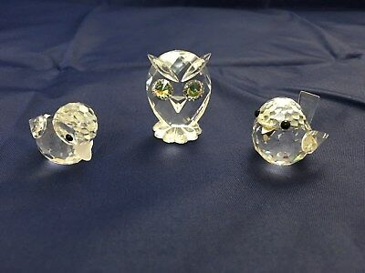 VINTAGE Swarovski Crystal Animals OWL DUCK CHICK 80s/early 90s