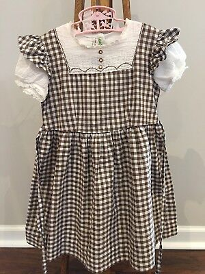 VINTAGE 1950'S KATE GREENAWAY FROCK DRESS SIZE 4 - 5 - 6 Brown & White Gingham