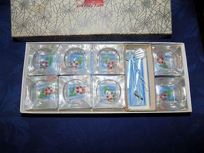 Vintage Lot/ In Box-Rainbow-Hand painted GLASS SQUARE SALT DIPS/ Open Salts