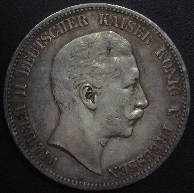 Prussia 1907-A Silver 5 Mark -German State- Choice Extremely Fine