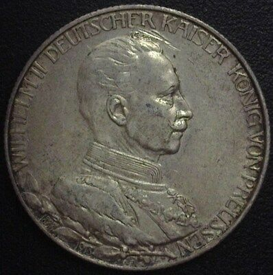Prussia 1913-A Silver 2 Mark -German States- Nearly Uncirculated  Km#533