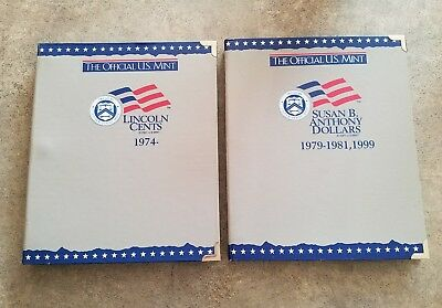 lot of 2 Official U.S. mint coin albums books  lincoln cents and Susan B Anthony