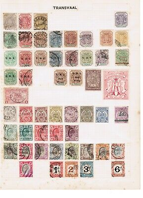 Transvaal mixed selection of stamps on album page
