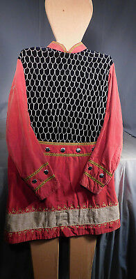 2 Antique Pale Cherry Red Velvet Stage Costumes Odd Fellows Ceremony Knight OLD
