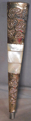 Antique BIG Mother Pearl Gold Plated Repousse Brass Umbrella Cane Walking Stick