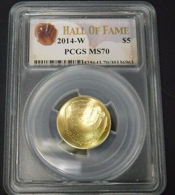 2014-W $5 PCGS MS70 baseball hall of fame gold coin. Check Pics!