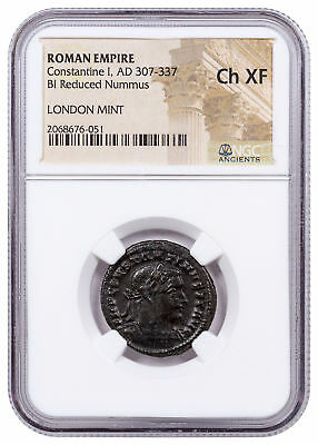 Roman Empire, Billon Nummus of Constantine I - London Mint NGC Ch. XF SKU52267