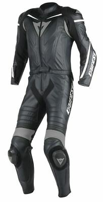 Dainese Laguna Seca D1 Perforated 2-pc Mens Leather Suit Black/Black/Anthracite