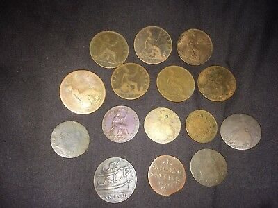 nice looking lot 15 old coins most british georgian victorian penny and others