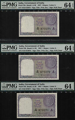TT PK 75b 1957 INDIA 1 RUPEE EXOTIC SEQUENTIAL S/N 071,072,075 PMG 64Q SET OF 3!