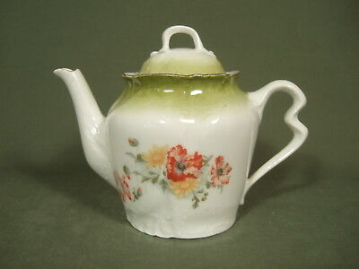 Vintage Floral Green Teapot With Gold Trim