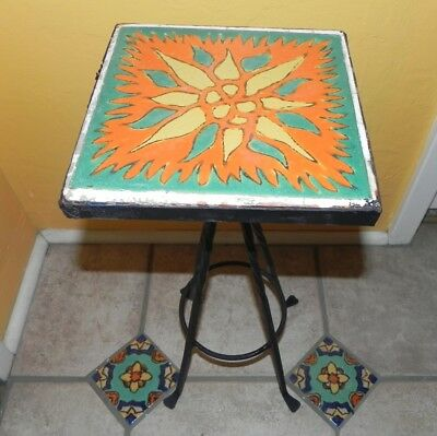 "Vintage D & M, 8"" Tile Table, Plant, Drink Stand in Wrought Iron...Excellent"