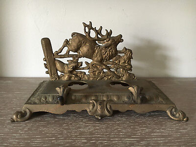 Antique Bradley & Hubbard Brass Inkwell Stag Deer & hounds motif #3549 PARTS