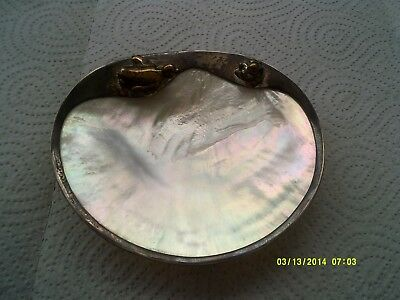 Unusual mother of pearl pin dish with a silver plated edge with a duck & penguin