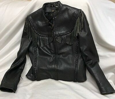 Harley Davidson Vintage Willie G Leather Jacket Classic Fringe Women Size 36 W