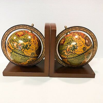 Vintage Globe Bookends Old World Spinning Atlas Map Made in Italy