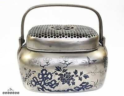 Antique Chinese Paktong Silver & Champleve Enamel Hand Warmer